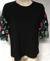 Pebble and Stone Womens Top Size S  floral Embroired Layered Sleeve Tunic  USA