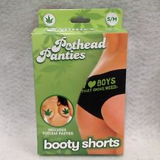 Pothead Panties I Love Boys That Smoke Weed Boy Short S/M Black Pot Leaf Pastie