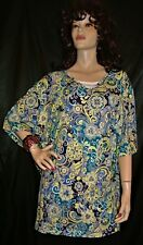 NWT CATHERINES TURQUOISE YELLOW NAVY PAISLEY FLORAL MEGA EXTRA LONG 4X  TOP FS
