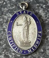 More details for state certified midwife antique vintage 1913 pendant badge medal