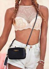 Victoria's Secret Black Crossbody Bag Clutch With Strap Tassel Gold Accent