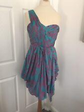 Coast Turquoise Pink Patterned Silk One Shoulder Cocktail Dress, Size 10!
