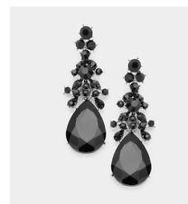 """2.5"""" Long Black Jet Pierced Rhinestone Drop Austrian Crystal Pageant Earrings"""