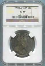 1909 Canada Silver 50 Cents. NGC XF40. Rare Date
