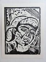 Georg Tappert (1880-1957) Kunstdruck vom Linolschnitt von 1918: Mädchenkopf..