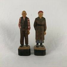 Andre Bourgault Quebec Folk Art Outsider Man Woman Wood Carvings 4 3/8""