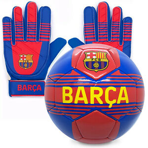 FC Barcelona Official Junior Gift Set Size 4 Football & Goalkeeper Goalie Gloves