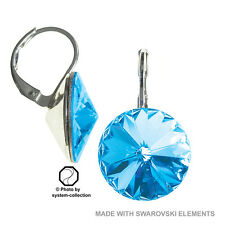 14 mm Ohrring mit Swarovski Elements, Farbe: Aquamarin