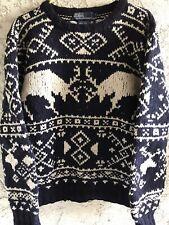 Vintage 90s Polo Ralph Lauren Wool Knit Snowflake Moose Elk Christmas Sweater M