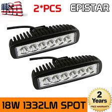 2x 18W 6''inch Spot Beam LED Work Light Bar Driving Off Road FOG 4WD Truck Lamp