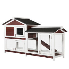 2 Tier Wooden Rabbit Hutch Bunny Hen Poultry Cage Pet House W/ Run Ramp Ladder