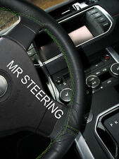 FOR RENAULT MEGANE 95+ TRUE LEATHER STEERING WHEEL COVER GREEN DOUBLE STITCHING