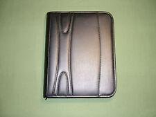 Simulated Leather 3 Ring Binder Portfolio Padfolio Zipper Organizer Black New
