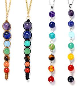 7 Chakra Necklace Balance Jewellery Stones Yoga Meditation Crystal Healing UK