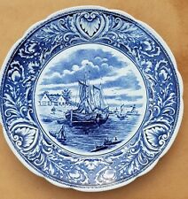 """9.84"""" Antique Delft Blue Plate Wall Charger Farm Water Boat Dutch scene by Boch"""