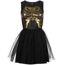 IRON FIST NYE PARTY BLACK GOLD SEQUIN SKELETON PARTY FANCY DRESS. Size S 8/10