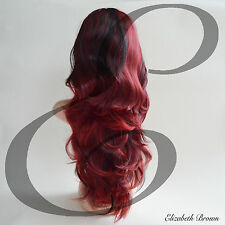 Fantastic Layers Black & Red Mix Long Curly 3/4 Wig Hairpiece Half Wig 046