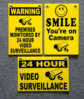 (3)  24 HOUR VIDEO SURVEILLANCE SMILE YOU'RE ON CAMERA SECURITY SIGNS 8x12   NEW