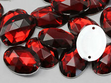 25x18mm Red Ruby CH17 Oval Flat Back Sew On Craft Gems - 20 Pieces