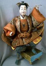 Impressive Large Antique Japan Samurai TAKEDA Ningyo Doll Warrior Silk Brocade