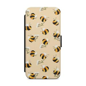 Bumblebee Bee Pattern WALLET FLIP PHONE CASE COVER FOR iPhone Samsung Huawei z16