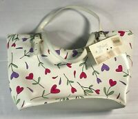 Moschino Vintage Rare Floral White Purple Pink 330 Shopping Cesto Bag VTG $ 313