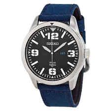 Seiko Solar Black Dial Blue Nylon Men's Watch SNE329