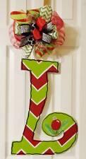 Handpainted  Large Wood Letter  Door Hanger Christmas Chevron  ~ANY INITIAL~