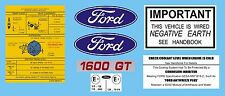 Ford rs 1600 & mexique sous bonnet decal set avo négatif terre Mk1 & Mk2 escort