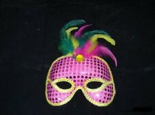 EYEMASK: SEQUIN W/FEATHERS AND TRIM