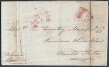 UK GB US 1847 MANCHESTER PAQUEBOT ON STEAM SHIP HEBERNIA VIA BOSTON TO PROVIDENC