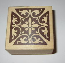"""Flowers Leaves Rubber Stamp Stampa Rosa Rare 1.75"""" Square Reflections Wood Mount"""