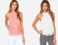 Women Summer Halter Neck Lace Tank Tops Casual Sleeveless T-Shirt Vest Blouse