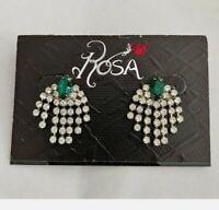 """Rosa Vintage Rhinestone Drop Dangle Earrings Green & Clear 1"""""""