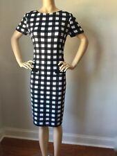NWT St John Knit dress Size 14 black and white check pattern wool rayon