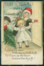 Children Christmas Greetings Clapsaddle Relief RESTOIRED postcard QT5913