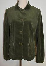 New Talbots Sz 14 Corduroy Jacket Green Ribbed Cotton Button Blazer Lined
