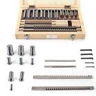 18pc HSS Keyway Broach Kit Collared Bushing Shim Set Inch Size Metalworking Tool