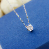 Lady's 18K White Gold Plated 6mm Simple Crystal Necklace Pendant Jewelry Gift
