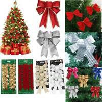 24X Bows Christmas Tree Decorations Xmas Bowknot Party Garden Festival Ornaments