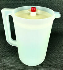 Tupperware 2 Quart Sheer Beverage Pitcher #1676 with Almond Push Button Lid