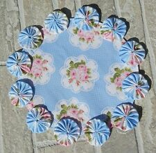 Smell The Pink Roses With White Dots On Blue-  Handmade YoYo Candle Mat Doily