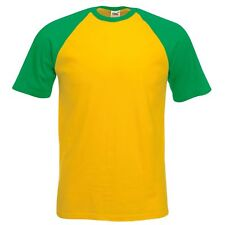 FRUIT OF THE LOOM BASEBALL SHORT SLEEVE  T-SHIRT - YELLOW / GREEN - SMALL