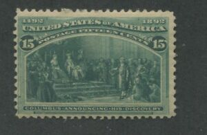 1893 US Stamp #238 15c Mint Never Hinged Fine Catalogue Value $600