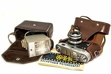 ▶ FED-3 35mm film Camera USSR ▶ Industar-61  lens ▶ Leather Case ▶  Foton Flash