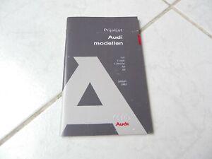 Audi A4 Coupé Cabriolet A6 A8 tarifs 1995 brochure catalogue dépliant prospectus
