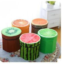 3D Fruit Folding Storage Bucket Cube Foot Stool Seat Footrest Foldable Box Bench