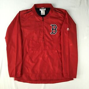 BOSTON RED SOX MAJESTIC Youth M 10-12 MLB 1/2 zip pullover shell mesh lined red