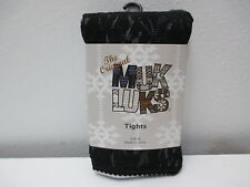 Muk Luks Black Lace Footed  Tights Size B - See Chart on Back of Package