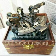 Antique Nautical Glass top Maritime Wood Box Collectible Brass Sextant Astrolabe